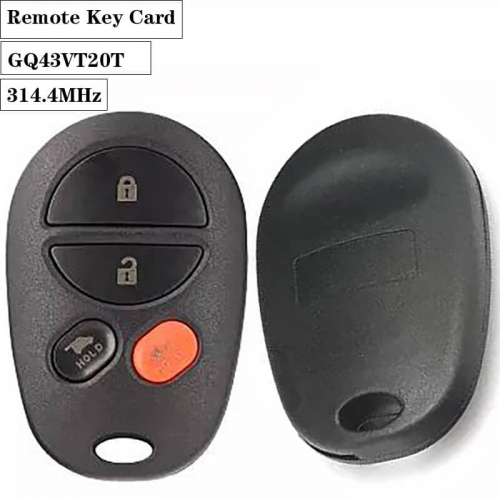 3+1 Button Remote Car Key for Toyot*a Sienna 2004-2013 314.4MHz GQ43VT20T