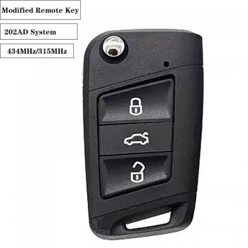 Modified Remote Key 3 Button 434MHz/315MHz HU66 For VW 202AD System