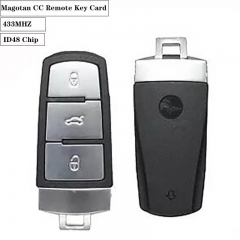 3button Remote Key Card 433MHZ.ID48 Chip For VW Magotan CC (After Market)