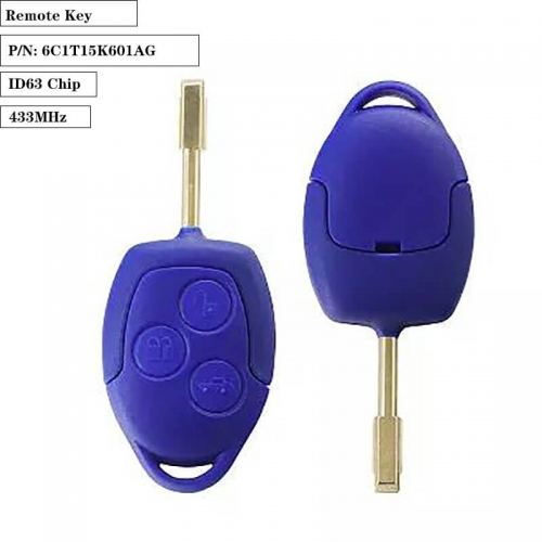 Remote Key 3 Button 433MHz ID63 Chip for Ford WM VM 2006-2014 P/N: 6C1T15K601AG FO21