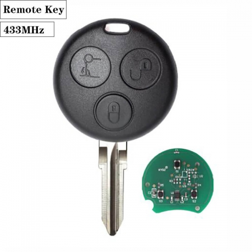 Remote Key 3 Button 433MHz with Chip for Mercedes-Ben*z Smart Fortwo Forfour City Roadster