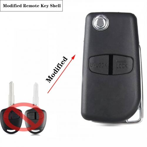 2 Button Modified Flip Folding Remote Key Shell for Mitsubish*i New ASX GRANDIS Outlander LANCER-EX Right/left Blade