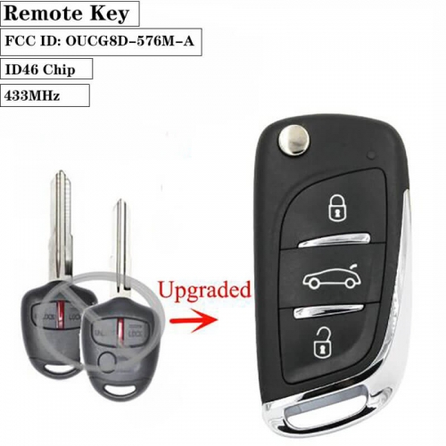 Upgraded Replacement Flip Remote Car Key 433MHz ID46 Chip for Mitsubish*i Outlander 2006 - 2015 FCC ID: OUCG8D-576M-A