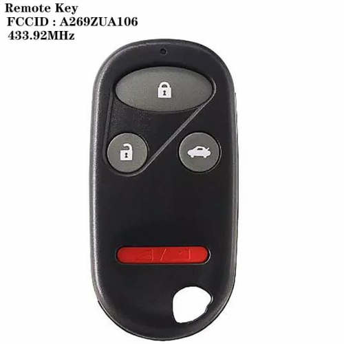 3+1button Remote Key 433.92MHz FCCID: A269ZUA106 For Hond*a CIVIC 1996-2000 ACCORD 1994-1997
