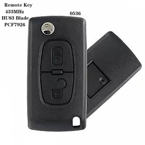 2button Remote Key 433MHz PCF7926 Chip HU83 For peogueo*t 0536