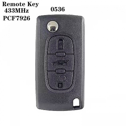 3button Remote Key 433MHz PCF7926 Chip HU83 For peogueo*t 0536