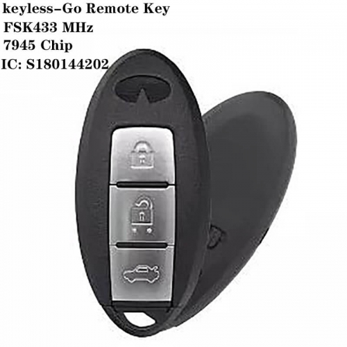 Keyless-Go Remote Key FSK434 MHz 7945 Chip 3 Button For Infinit*i IC:S180144202