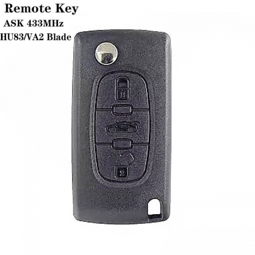 3buttons Remote Key ASK 433mhz (HU83 / VA2) For peogueo*t 307 0523