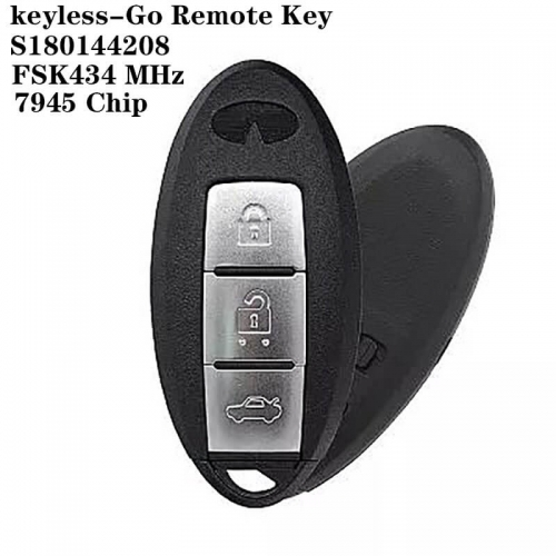 Keyless-Go Remote Key FSK434 MHz 7945 Chip 3 Button For Infinit*i Q50 Q50L IC:S180144208
