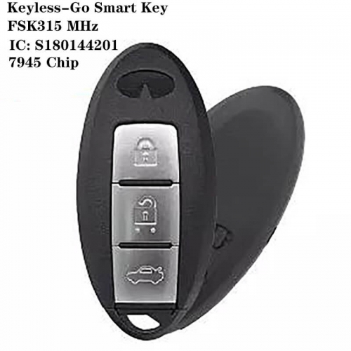 Keyless-Go Smart Key FSK315 MHz 7945 Chip 3 Button For Infinit*i IC: S180144201