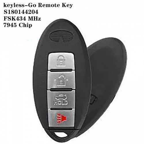keyless-Go Remote Key FSK434 MHz 7945 Chip 3+1 Button For Infinit*i Q50 / Q50L IC: S180144204