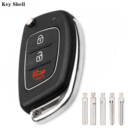 3 Button Filp Car Remote Key For Hyunda*i HB20 IX35 I45 SANTA FE Accent I40 I20 HY15 / HY20 / TOY40 / Left / Right Blade