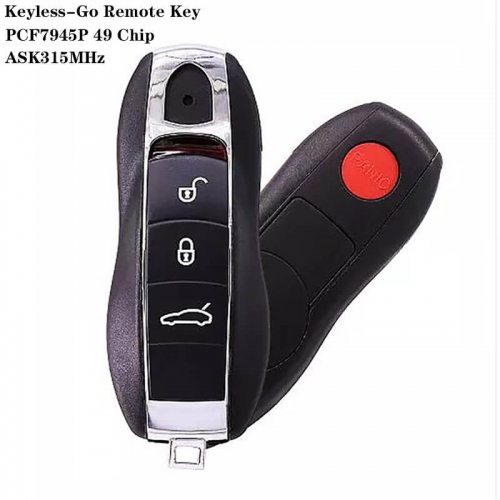 3+1 Button Keyless-Go Remote Key ASK315MHz PCF7945P 49 Chip HU66 Blade For Posrch*e Cayenne