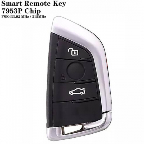3 Button FEM Type Smart Remote Key FSK433.92 MHz/315MHz (Universal FEM / CAS4 / CAS4 Plus) 7953P Chip For BM*W