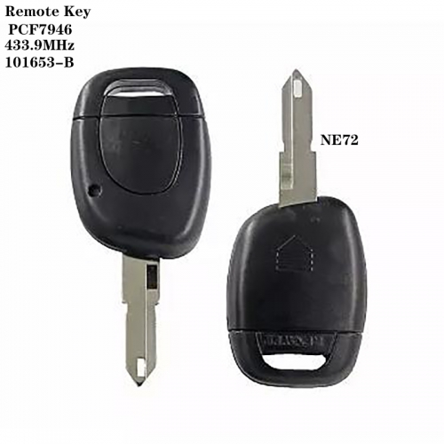1Button Remote Key 433.9MHz PCF7946 Chip NE72 101653-B For Renaul*t