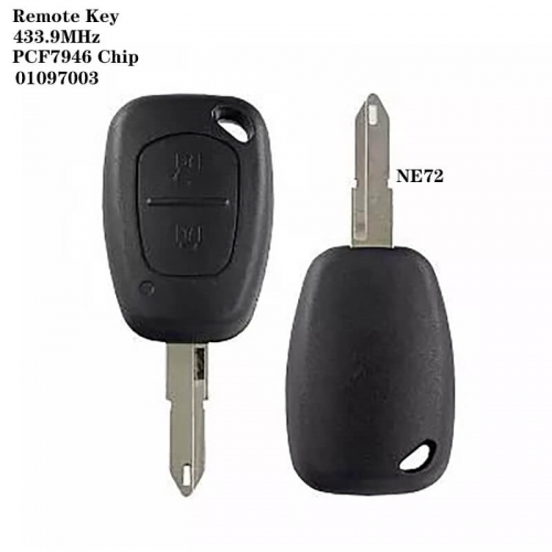 2Buton Remote Key 433.9MHz PCF7946 Chip -01097003 NE72 For Renaul*t