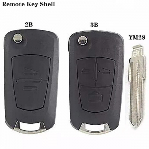Modified Flip Remote Key Shell 2/3 Button (HU46) Blade For Ope*l