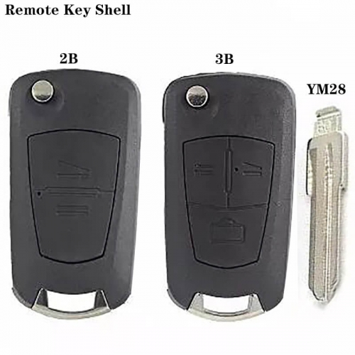 Modified Flip Remote Key Shell 2/3 Button YM28 Blade For Ope*l