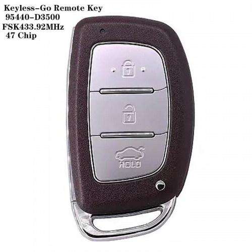 3 Button Keyless-Go Remote Key 47 Chip 95440-D3500 HYN14 FSK433.92MHz For HYUNDA*I