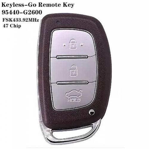 3 Button Keyless-Go Remote Key FSK433.92MHz 47 Chip FCCID : 95440-G2600 HYN14 Blade For HYUNDA*I 2019 IONIQ