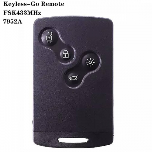 Keyless-Go Remote Smart Card 4button FSK433MHz 7952A VA6 Blade For Renaul*t Koleos