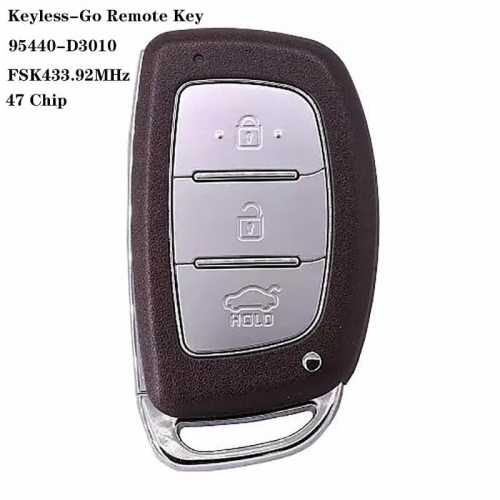 3 Button Keyless-Go Remote 47 Chip 95440-D3010 HYN14 FSK433.92MHz For HYUNDA*I Tucson 2018