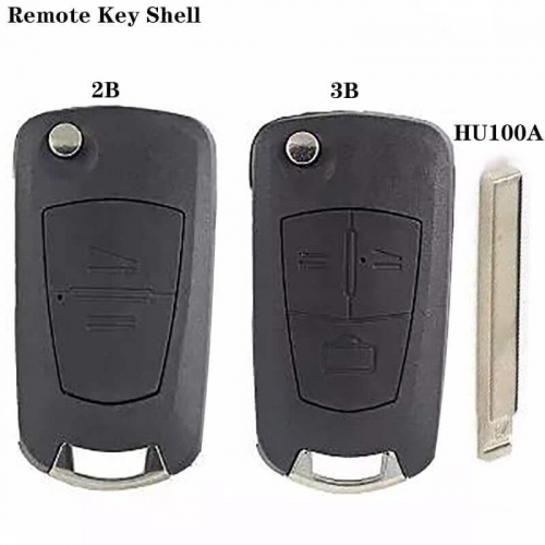 Modified Flip Remote Key Shell 2/3 Button HU100A Blade For Ope*l