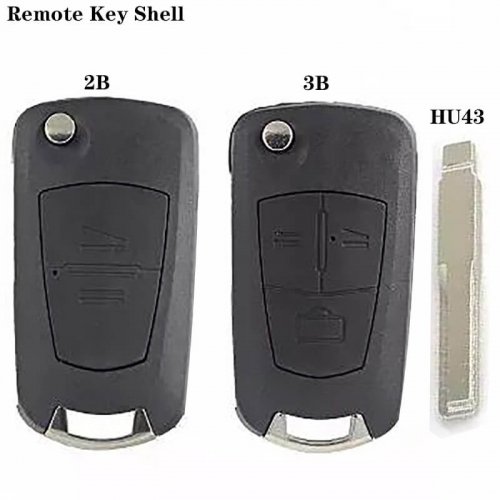 Modified Flip Remote Key Shell 2/3 Button HU43 Blade For Ope*l