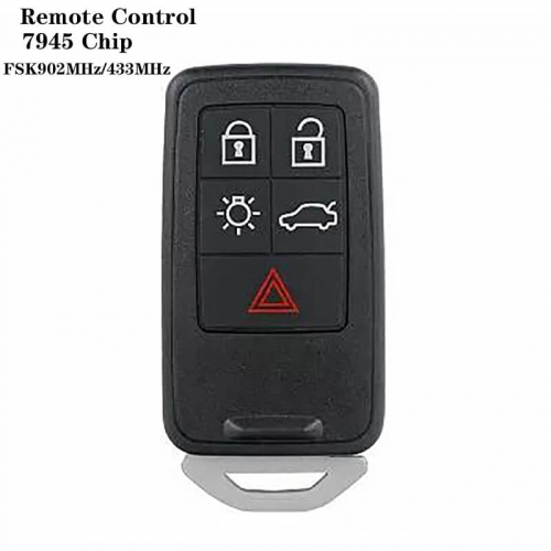4+1Button Remote Control FSK902MHz/433MHz 7945 Chip HU137 Blade For VOLVO