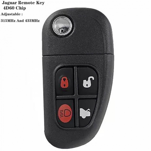 For Jagua*r 4Button Remote Key 4D60 Chip TBE1 (Adjustable 315MHz And 433MHz)